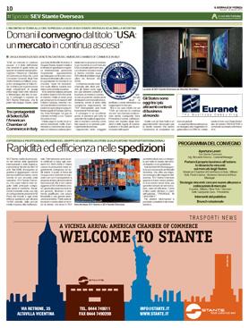 Articolo del Giornale di Vicenza sul convegno USA: un mercato in continua ascesa - 23/04/2015