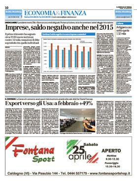 Articolo del Giornale di Vicenza sul convegno USA: un mercato in continua ascesa - 25/04/2015